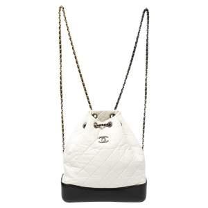 حقيبة ظهر شانيل  غابريلال جلد مبطن أسود/أبيض صغيرة