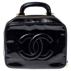Chanel Black Patent Leather Vintage CC Vanity Case Top Handle Bag