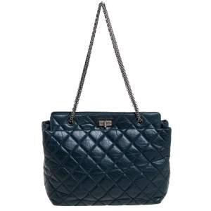 Chanel Dark Green Quilted Aged Leather 2.55 Reissue Grand Shopping Tote