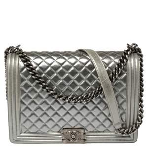 Chanel Silver Quilted Leather Large Boy Flap Bag