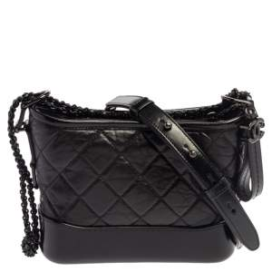 Chanel Black Aged Quilted Leather Small Gabrielle Bag