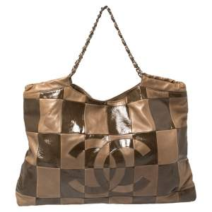 Chanel Brown Leather and Patent Leather Large Brooklyn Patchwork Cabas Tote
