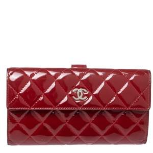 Chanel Red Quilted Patent Leather CC Brilliant Wallet