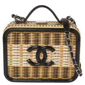 Chanel Beige/Black Rattan and Patent Leather CC Vanity Case Bag