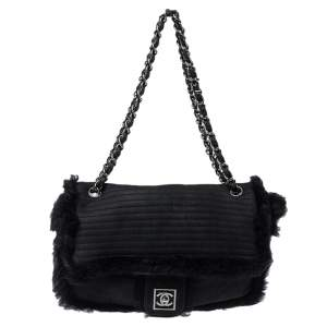 Chanel Black Quilted Nubuck and Rabbit Fur Trimmed Flap Bag