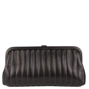 Chanel Black Lambskin Leather Mademoiselle Ligne Clutch Bag