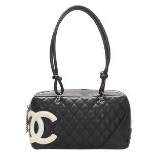 Chanel Black Leather Cambon Ligne Bowler Bag