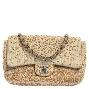 Chanel Cream White Raffia Sequin Single Flap Bag