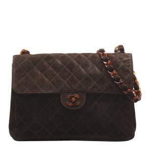 Chanel Brown Suede Jumbo Single Flap Bag