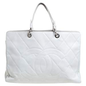 Chanel White Caviar Quilted Leather CC Timeless Tote