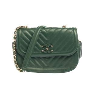 Chanel Green Chevron Quilted Leather Covered CC Flap Bag