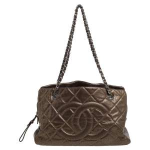 Chanel Bronze Leather CC Timeless Soft Shopper Tote