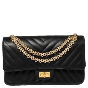 Chanel Black Chevron Leather Reissue 2.55 Classic 225 Flap Bag