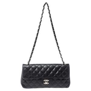 Chanel Black Quilted Leather Classic East West Flap Bag