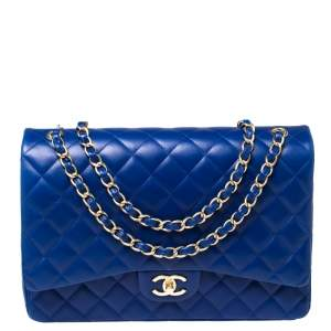 حقيبة شانيل ماكسي كلاسيك قلاب مزدوج جلد مبطن أزرق