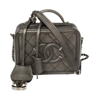 Chanel Metallic Grey Quilted Caviar Leather Small CC Filigree Vanity Case Bag