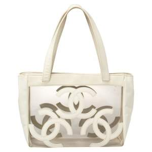 Chanel White PVC and Patent Leather Medium Triple CC Tote