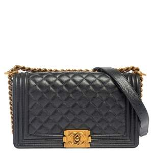 Chanel Metallic Grey Quilted Leather Medium Boy Flap Bag