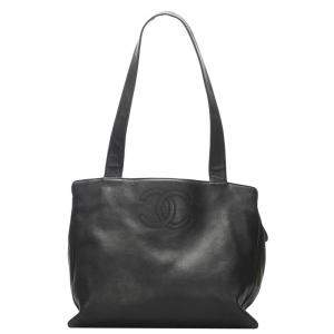 Chanel Black Lambskin Leather Vintage CC Tote Bag