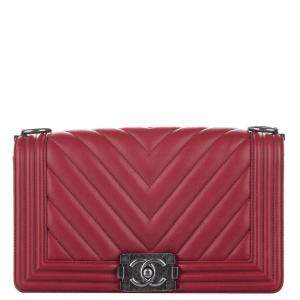 Chanel Red Leather Chevron Boy Flap Bag