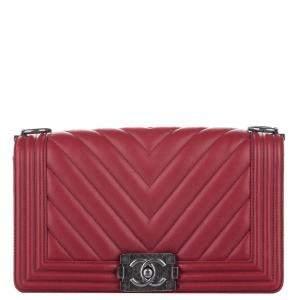 Chanel Red Leather Chevron Boy Flap Bag