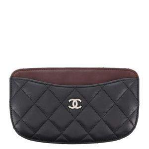 Chanel Black Quilted Lambskin Leather Coin Pouch
