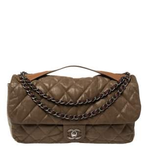 Chanel Tri Color Glazed Nubuck and Leather Castle Rock Top Handle Bag