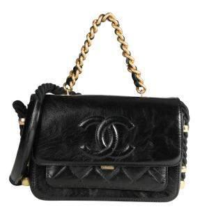 Chanel Black Lambskin Leather En Vogue Flap Bag