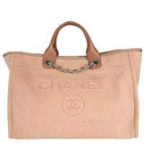 Chanel Beige Canvas Deauville Large Tote Bag