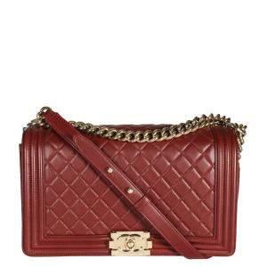 Chanel Burgundy Quilted Lambskin Leather Boy Medium Bag