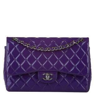Chanel Purple Caviar Leather Classic Jumbo Double Flap Bag