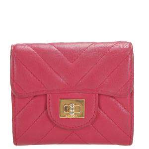 Chanel Red Leather Chevron Small Compact Wallet