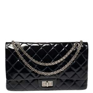 Chanel Dark Blue Quilted Patent Leather Reissue 2.55 Classic 227 Flap Bag
