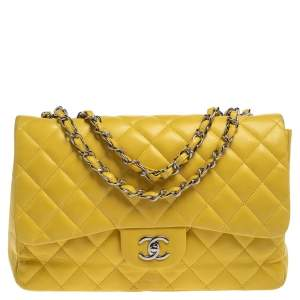 Chanel Yellow Quilted Leather Jumbo Classic Single Flap Bag