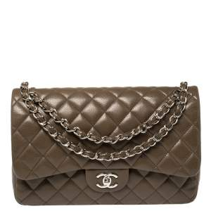 Chanel Coffee Brown Quilted Caviar Leather Jumbo Classic Double Flap Bag