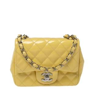 Chanel Yellow Quilted Patent Leather Mini Square Flap Bag