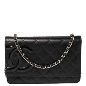 Chanel Black Quilted Leather Cambon Ligne Wallet on Chain