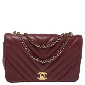 Chanel Burgundy Chevron Leather Mini Statement Flap Bag