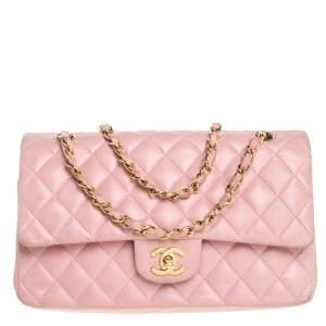 Chanel Pink Leather Medium Double Flap Shoulder Bag