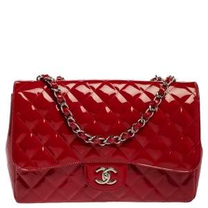 Chanel Red Quilted Patent Leather Jumbo Classic Single Flap Bag