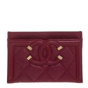 Chanel Red Quilted Caviar Leather CC Filigree Card Holder