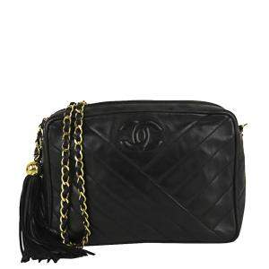 Chanel Black Lambskin Leather Fringe CC Crossbody Bag