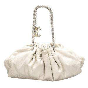 Chanel White Cotton Melrose Shoulder Bag