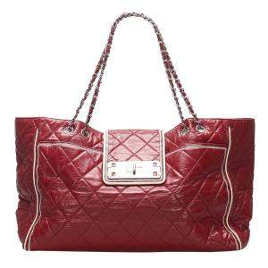 Chanel Red East/West Lambskin Leather Tote Bag