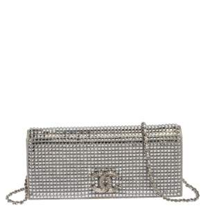 Chanel Silver Crystal Embellished Paris-Dubai Chain Clutch