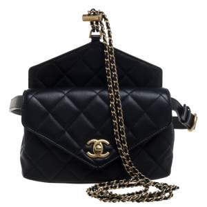 Chanel Black Quilted Leather Envelop Flap Waist Bag