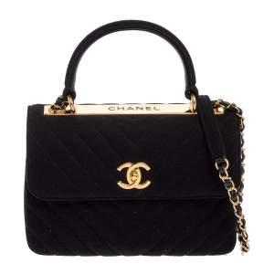 Chanel Black Chevron Jersey Small Trendy CC Flap Top Handle Bag