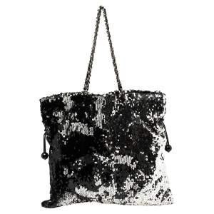 Chanel Black Sequins Embellished Summer Night Drawstring Bag