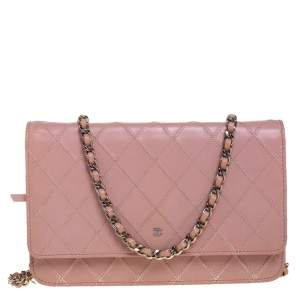Chanel Pink Quilted Leather WOC Clutch Bag