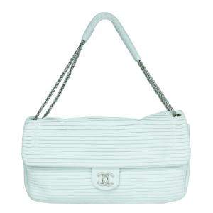 Chanel White Leather Pleated Shoulder Bag
